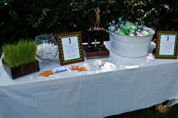 Golf Centerpieces to Make | Guests went home with a package of golf balls and customized golf tees ...