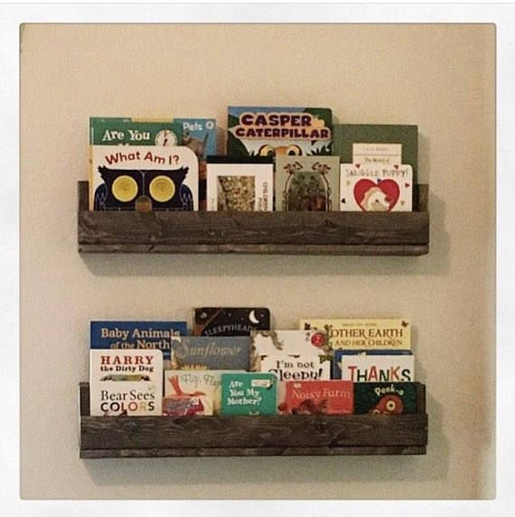 Charming handmade pallet wood bookshelves! Each measures 27 long, 5 1/2 high, and 3 1/2 deep. (Approximate dimensions) Perfect for childrens rooms, play rooms, or even storage for bathroom items! Made to feel rustic and handmade, charming and decorative- but still extremely sturdy!