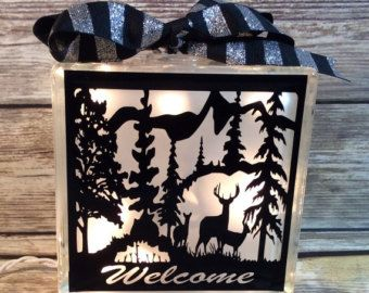 Man Cave lighted glass block deer country by CreationsbyJaniceGif
