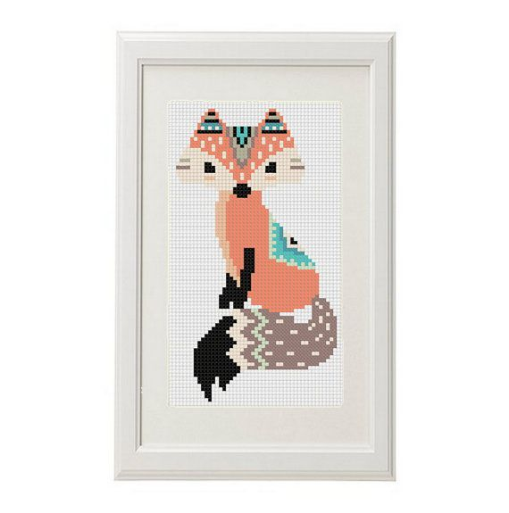 Fox cross stitch pattern fox pens ethnic pattern Art work Boho Trim Animal Cross…