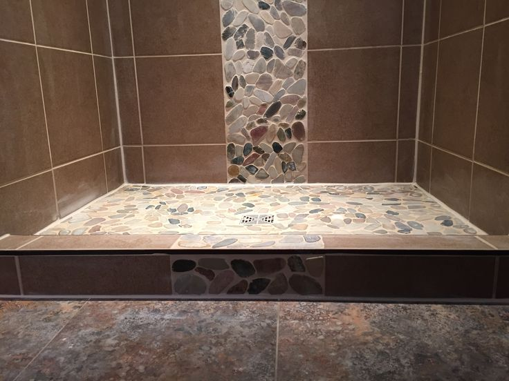 Natural Stone Shower Floor With Accent Strip