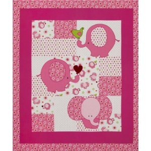 Pink fabric elephant nursery and the panel on pinterest for Pink nursery fabric