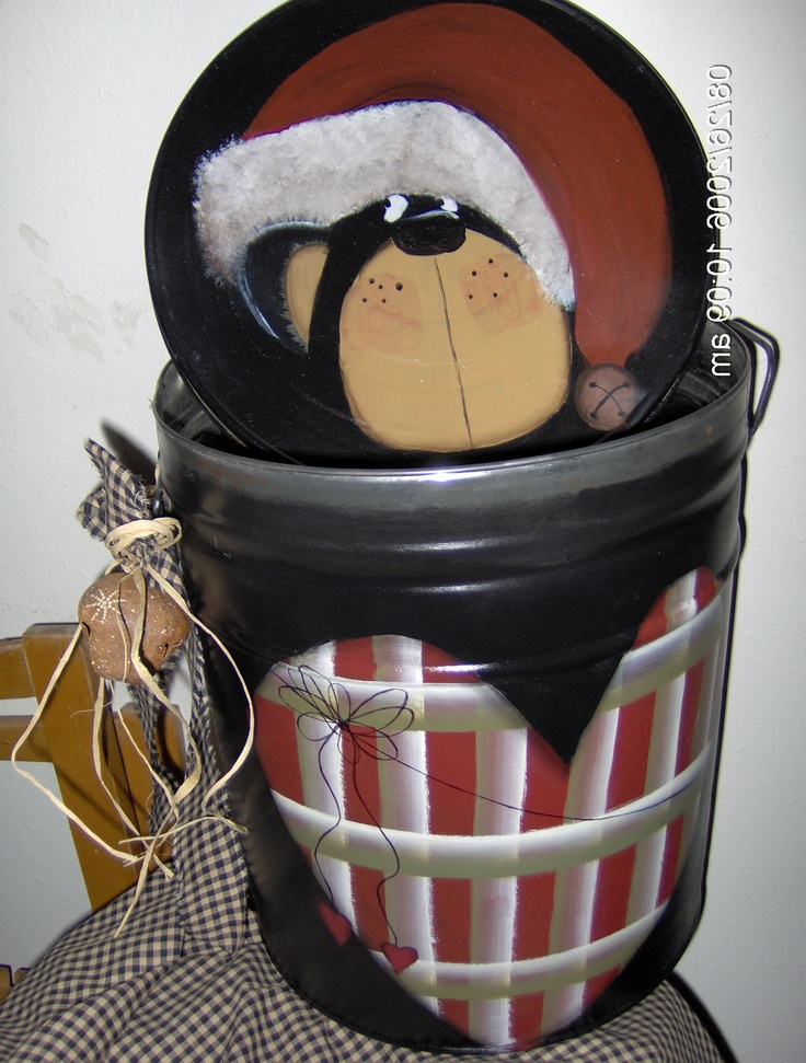 OLD POPCORN TIN I PAINTED GREAT FOR STORAGE Christmas