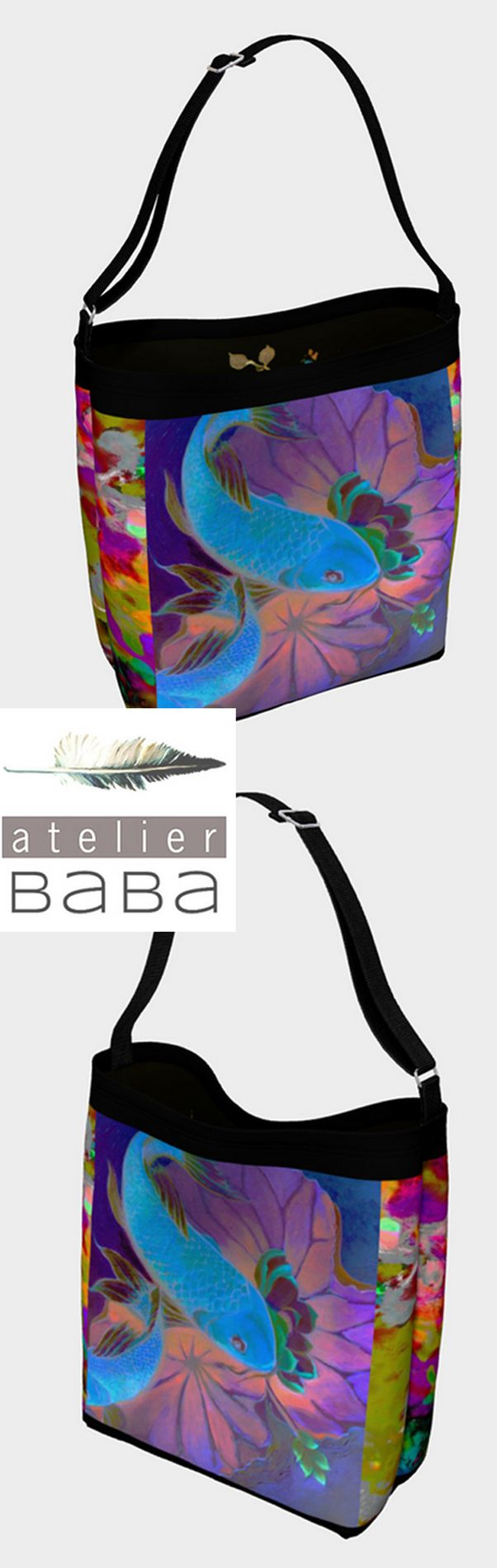 Midnight Koi Tote Bag by atelierbaba on Art of Where. Very lovely.