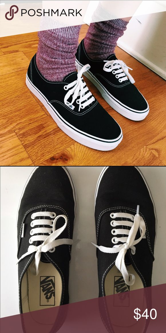 Classic Vans Classic black and white vans. Worn 1-2 times, look completely brand new. A great staple piece! Reallyyyy trying to get rid of clothes so please offer if interested! Vans Shoes Sneakers