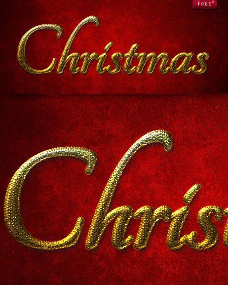 Стиль для фотошоп - Золотое Рождество