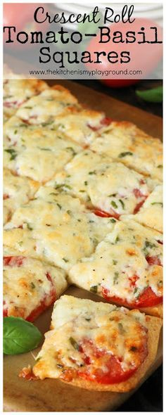 Crescent Roll Tomato-Basil Squares ~ Fresh tomatoes & basil slathered with melty cheese, and layered on a crescent roll crust. The perfect versatile savory little treat. www.thekitchenismyplayground.com