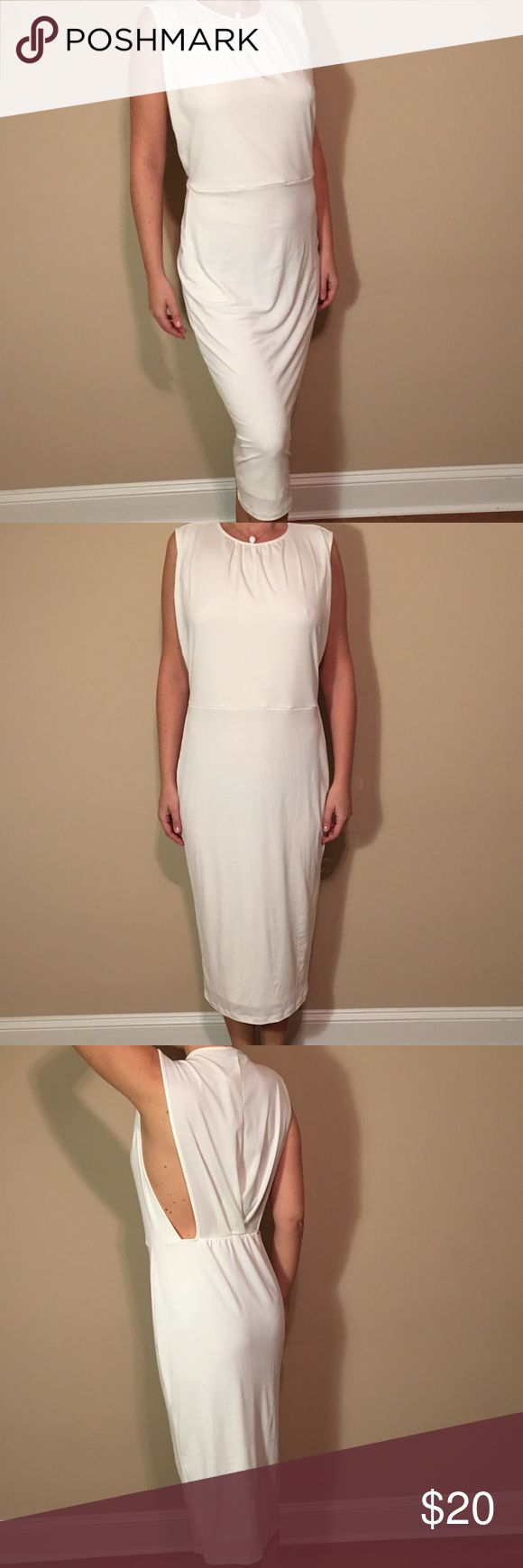 "ASOS long white dress with open sides, Size:10 ASOS Long White Dress with open sides. Size : 10 (Model is 5'8"" and 136 pounds) New with tags, perfect condition! Comes from a pet and smoke free home. ASOS Dresses Maxi"
