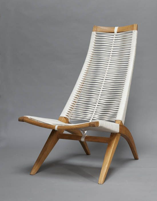 Andrzej Pawłowski; 'Woven' Chair for Antoni Fic, c1955. http://www.uk-rattanfurniture.com/product/modern-gardenoutdoor-hanging-chair-black-rattan-red-cushionheadrest/