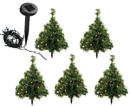 Christmas Pathway Solar Lights 5 Pc Outdoor Porch Xmas Mini Trees Multi-Colored #SmartDealsMarket