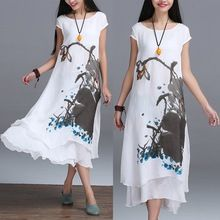 2016 New Summer Chinese Style O-neck Linen Cotton Slim Dress False Two Art Print Ink Loose Casual White Maxi Work Dresses Design(China (Mainland))