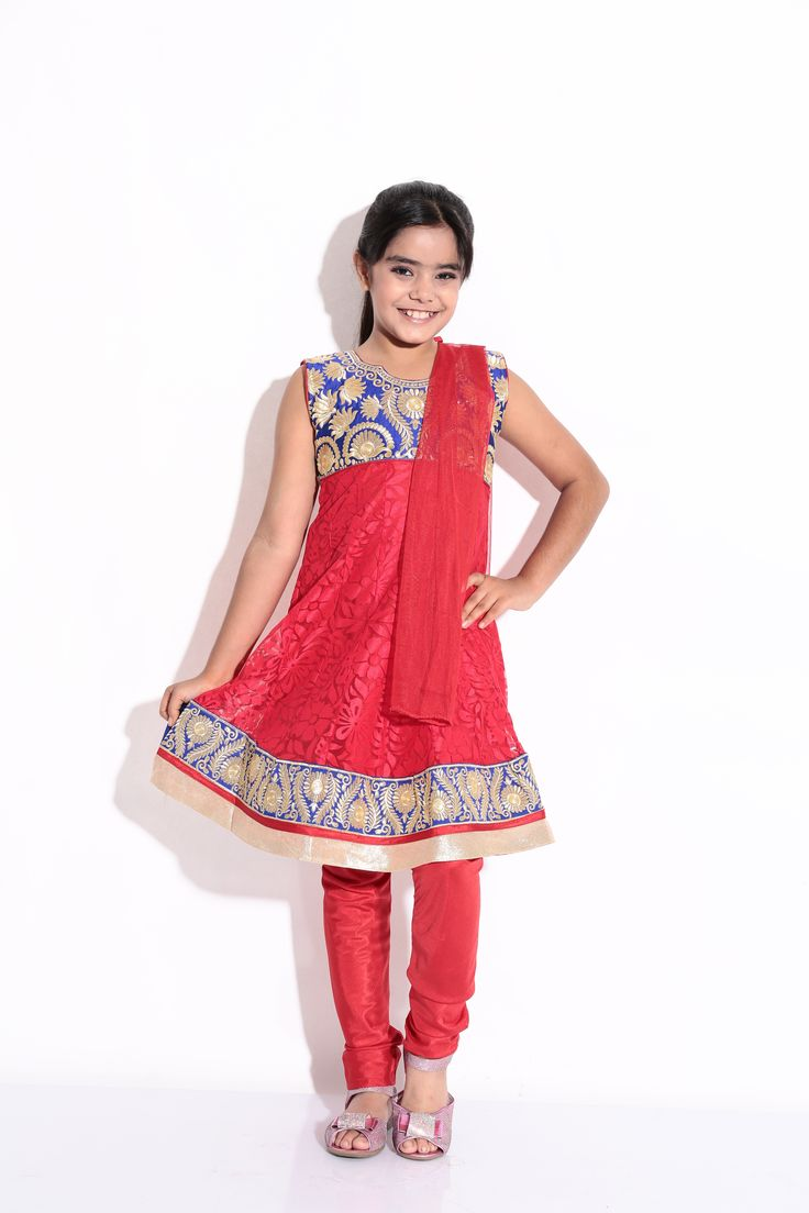 Buy Ashwini Girls Netted Embroidery Red Salwar for Girls from age 2-8 years at Singlekart.com/ Currently available for Customers in Bangalore. #singlekart RHClothing