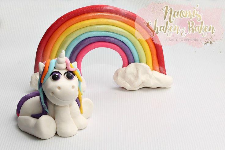 1x Edible Unicorn & Rainbow 8-16cm Birthday Fondant Cake Topper Set #BirthdayBabyshower