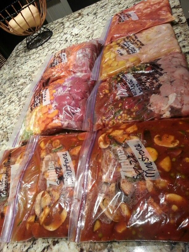 8 clean eating meals all prepped and ready to freeze for cooking later in the crock pot. Beats takeout.  Minestrone, beef barley soup, sweet n sour chicken, honey lime chicken and chicken taco soup.