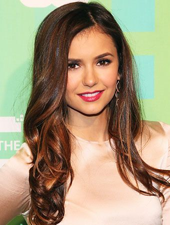 Nina Dobrev long warm brown hair with highlights
