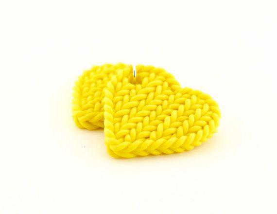Yellow heart earrings - lemon knit imitation earrings - polymer clay bright yellow earrings