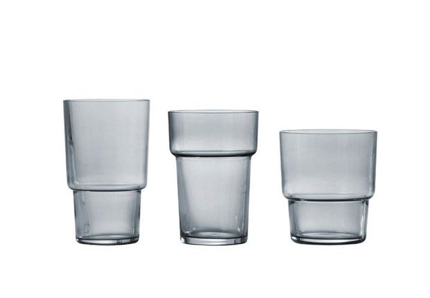 """""""Same But Different"""" stacking glasses by Muuto, Denmark.  Dove Blue."""