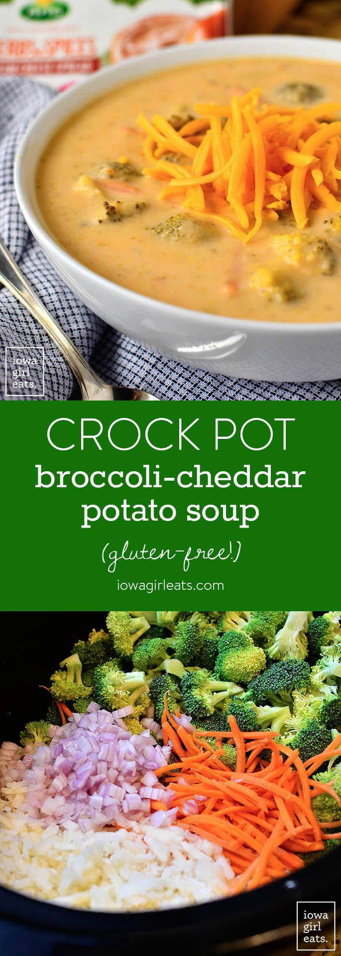 Crock Pot Broccoli-Cheddar Potato Soup is thick, creamy, and oh-so cheesy. This crock pot soup recipe is easy and gluten-free, too! | iowagirleats.com