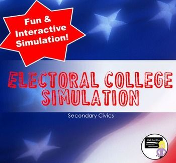"The Electoral College Simulation Activity (Civics)  This is an engaging activity simulates a mock Presidential election. Students will be able to really ""see"" how the Electoral College works and have fun in the process. All teacher preparation and student instructions are included. (This activity requires at least 8-10 dice which are NOT included)."