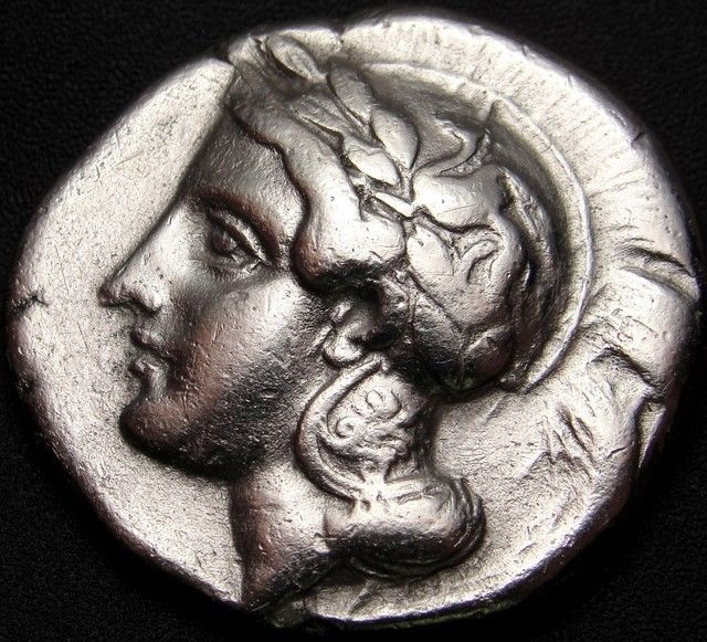 ATHENA AND LION ATTACKING STAG,VELIA silver ar NOMOS Greek coin worth over$2.000