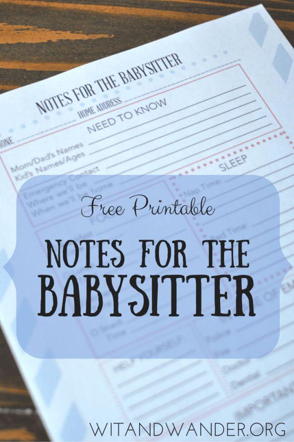 Printable Babysitter Notes + DIY Babysitter's Box - Wit & Wander
