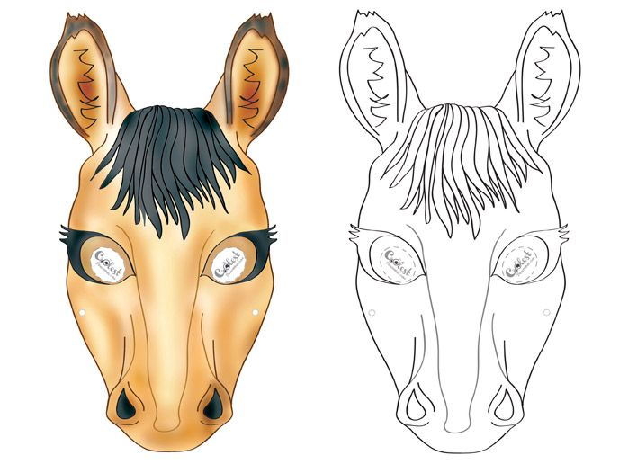 We've created a black and white Horse mask and colored Horse mask, choose your preference. Then cut all around, cut holes for the eyes, and punch a ...