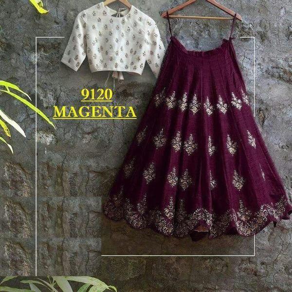 Magenta Silk Indian Lehenga Online Shopping ,Indian Dresses - 1