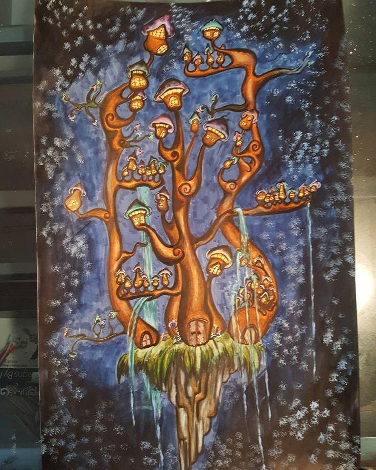 "Aslinn Smith 🎨 on Instagram: ""Finished the #mushroom #apartment #painting #acrylic #coloredpencil #markers #illustration #art #instart #inspiration #waterfalls"""