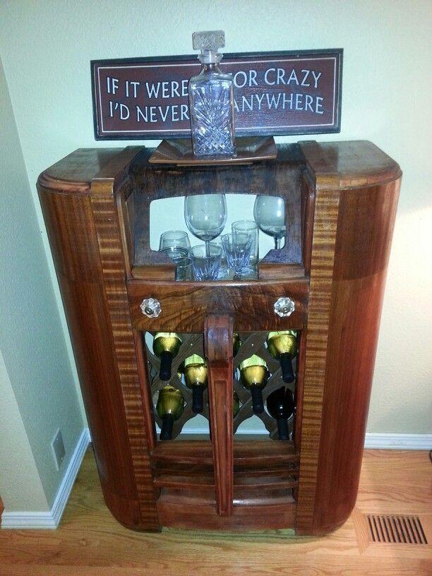 Vintage Radio I Turned Into A Wine Rack Antiques