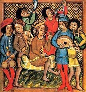 TROVADORES   Los trovadores (del idioma occitano trobador, pronunciado [truβa'δu]) fueron músicos y poetas medievales, que componían sus obras y las interpretaban, o las hacían interpretar por juglares o ministriles, en las cortes señoriales de ciertos lugares de Europa, especialmente del sur de Francia, entre los siglos XII y XIV. La poesía trovadoresca se compuso principalmente en idioma occitano. CUERNO, TRIÁNGULO, TAMBORIL,  FÍDULA, LAÚD, GAITA.