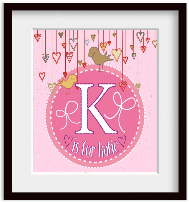 Personalised Girls Nursery Wall Alphabet Art print 11x14 Christening Baptism £18.99