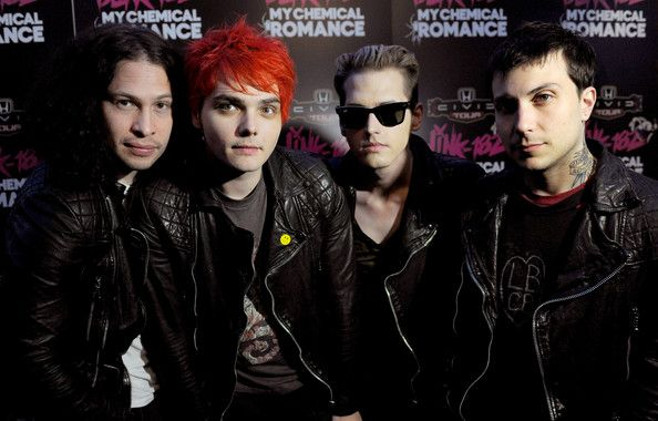 Gerard Way and Frank Iero Photos Photos - (L-R) Musicians Ray Toro, Gerard Way, Mikey Way and Frank Iero of My Chemical Romance pose at a press party of announce the 2011 Honda Civic Tour featuring blink-182 and My Chemical Romance at the Rainbow Bar and Grill on May 23, 2011 in West Hollywood, California. - blink-182 & My Chemical Romance: The 2011 Honda Civic Tour Announcement Event