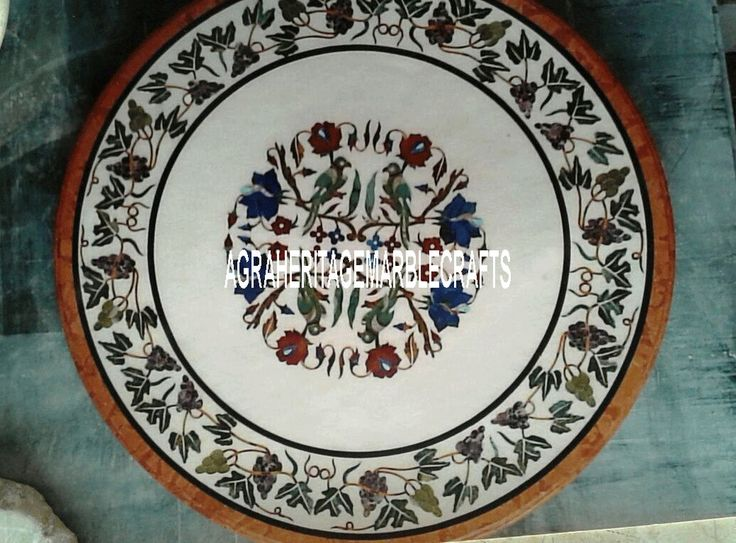 """30""""White Marble Top Table Malachite Floral Cyber Monday Decorations Marquetry Art #AgraHeritageMarbleCrafts #ArtsCraftsMissionStyle #ParrotArt #WhiteMarble #FloralArt #MalachiteStones #CyberMondayDecor #DecorativeTable #OccasionalDecor #PeakHolidayDecor #ExclusiveTable"""