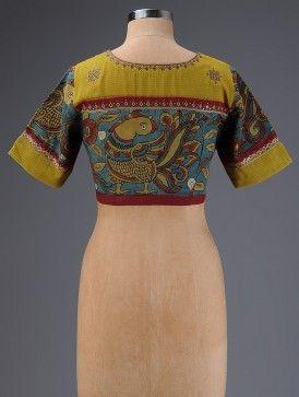 Yellow-Blue Embroidered Hand Painted Kalamkari Cotton Blouse
