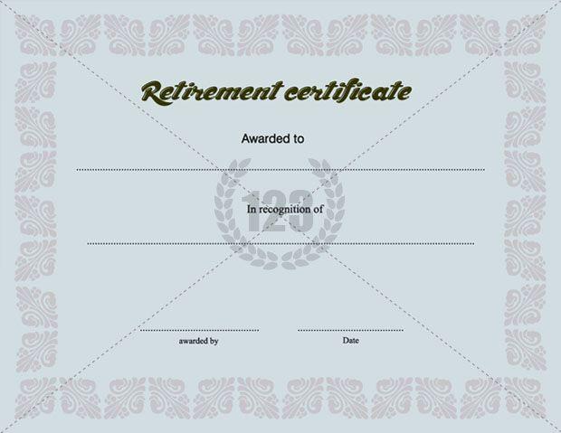 Retirement certificate template certificate template for Sample retirement certificate template