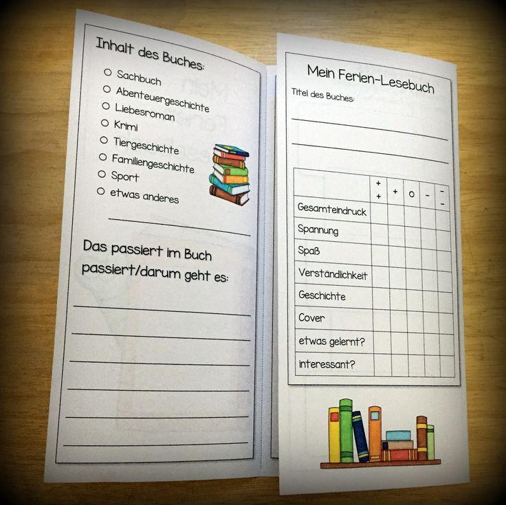 Eine Idee für eine kleines Ferienprojekt - anstelle des alt bewährten Ferien-Lesepasses.  Ein Folder, in dem man ein paar Infos zum Ferienbu...