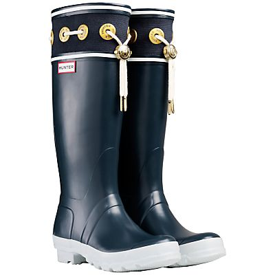 Buy Hunter Thurlestone Nautical Wellington Knee High Boots, Navy online at JohnLewis.com - John Lewis