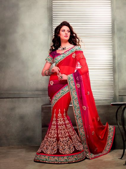 2302.  Beautiful Red Lehenga Saree   INR 4800/-