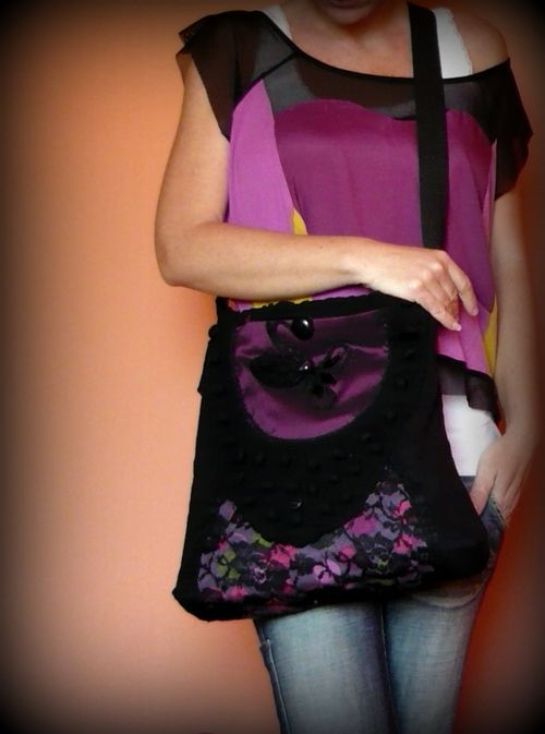 Handmade by Judy Majoros - Purple-black lace shoulder bag. Crossbody bag.Recycled bag