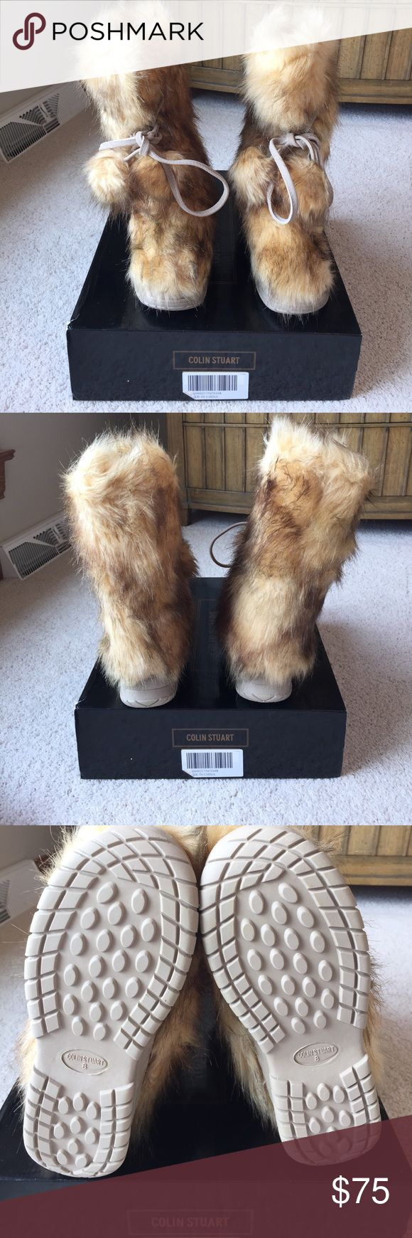 Brand new Colin Stuart fur boots Brand new in the box Colin Stuart fur boots. These were purchased from Victoria's Secret. They have never been worn. They are a size 8. They are a mixture of different color browns. They each have two attached Pom pons on the front of the boots. Colin Stuart Shoes Winter & Rain Boots