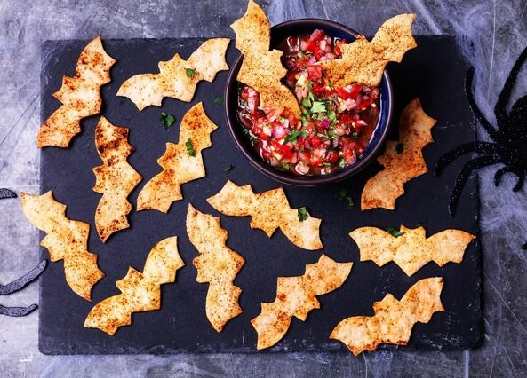Make these spooky bats using tortilla wraps sprinkled with smoky paprika, then serve with this scarily good tomato salsa