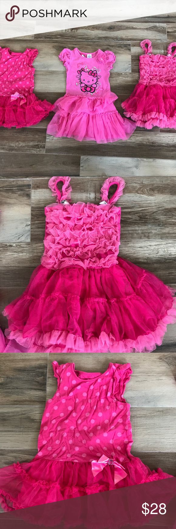 🎀BUNDLE🎀 3 pink dresses - Size 3T 🎀BUNDLE🎀 3 adorable pink twirly, girly dresses! Can be worn for holiday, special occasion, birthday princess dress, weekend dress-up, or even casual wear. All dresses are in size 3T & in PERFECT condition! Brands are Amy Coe, Circo, & Hello Kitty! 🖤 Hello Kitty Dresses