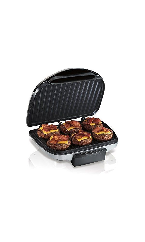 28.99$ - Hamilton Beach 25371 Indoor Grill, Silver  #oven #barbecue #waffle iron #food #kitchen appliance #meal #cooking #meat #home appliance #dinner #cook #close #steel