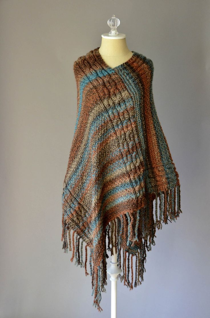 Free Pattern Friday - Double Cable Poncho knit in Major