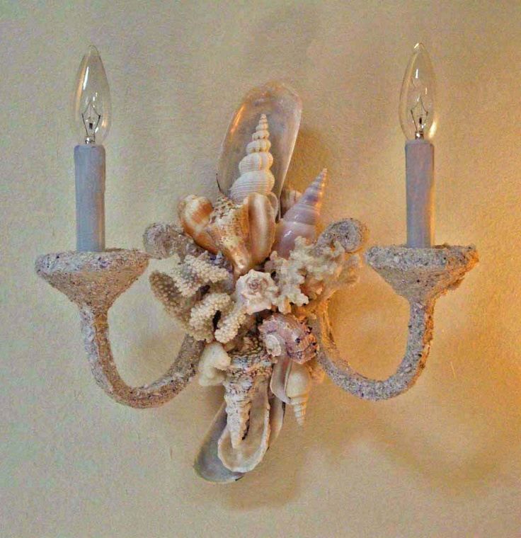 seashell bathroom lighting fixtures. billed as the sea shell artist in america, heather kendall creates one-of-a-kind custom mirrors that clients can\u0027t get enough of. seashell bathroom lighting fixtures