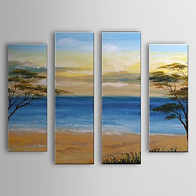 Hand Painted Oil Painting Landscape Sea Set of 4 with Stretched Frame 1307-LS0107 – USD $ 239.99
