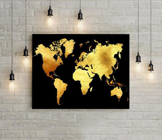 Black And Gold Wall Art Printable World Map Wall Art Instant