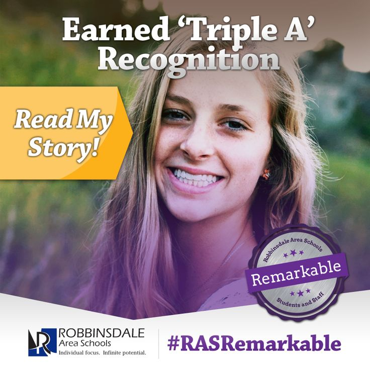"Meet Kelsey - A Remarkable Student of Robbinsdale Area Schools. In addition to her Triple ""A"" recognition, 2015 Armstrong grad Kelsey Sather also maintained a 4.0 GPA. By graduation, she had completed 11 Advanced Placement college-level courses. She plans to continue to pursue her musical and athletic interests while attending the University of Minnesota-Twin Cities. We invite all students to make their mark. Just like Kelsey. We are Robbinsdale Remarkable. #RASRemarkable"