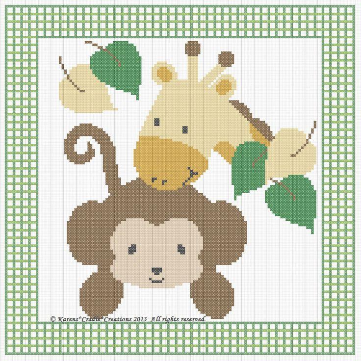 MACACO & girafa bebê cruzam costura padrão gráfico (10 x 10 cm) * fácil *   Artesanato, Fios e materiais para costura, bordados, tricô e crochê, Bordado e ponto-cruz   eBay!