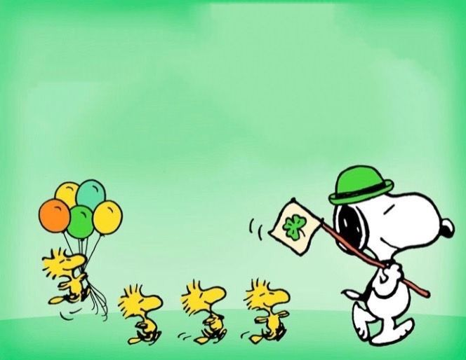 Snoopy And Woodstock Happy St Patrick S Day Snoopy Wallpaper Snoopy And Woodstock Snoopy Images